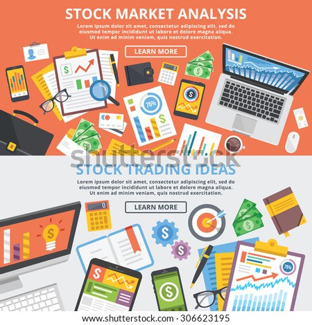 Stock market analytics, stock trading ideas flat illustration concept set. Top view. Modern flat design concepts for web banners, web sites, printed materials, infographic.Creative vector illustration - stock vector