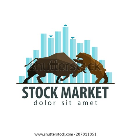 stock market, business vector logo design template. money, banking or bull and bear icon. flat illustration - stock vector