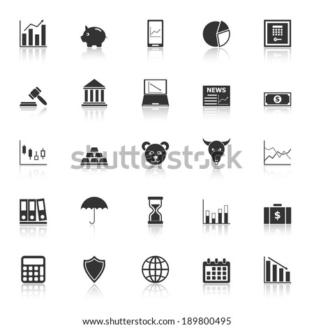 Stock market icons with reflect on white background, stock vector - stock vector