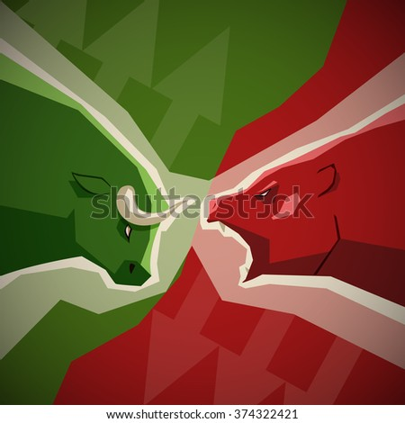 Stock market illustration - green bull and red bear opposition concept on background with up and down arrows - stock vector