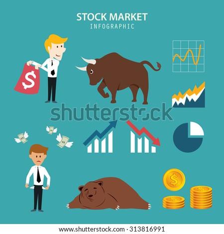 stock market infographic - stock vector