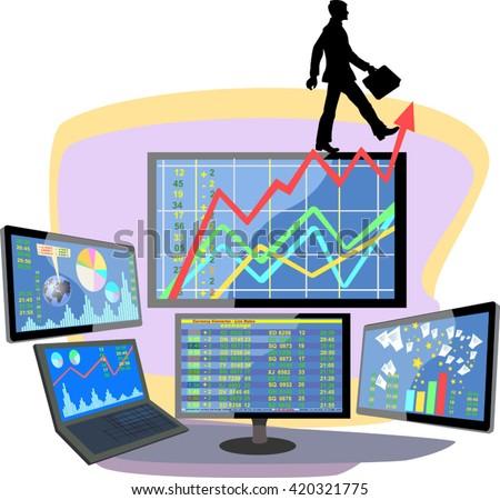 Stock market number on screen display - stock vector