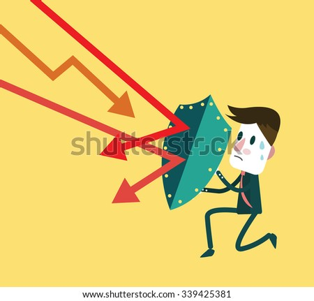 Stock market trading down to attack businessman. investment and financial concept. flat design elements. vector illustration  - stock vector