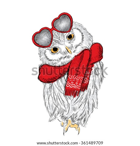 Stock owl with glasses and a scarf. Hearts. St. Valentine's Day. Bird vector. Card. Valentine. - stock vector