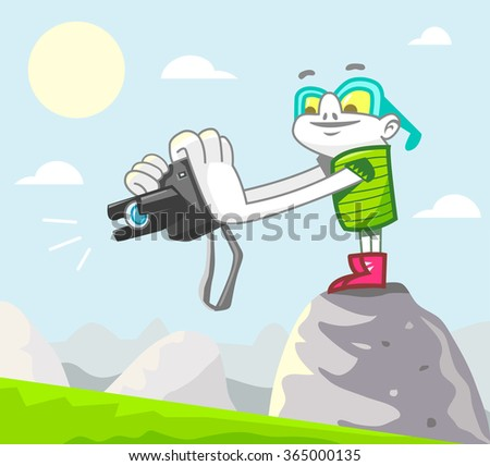 Stock photographer at work. Vector illustration. - stock vector