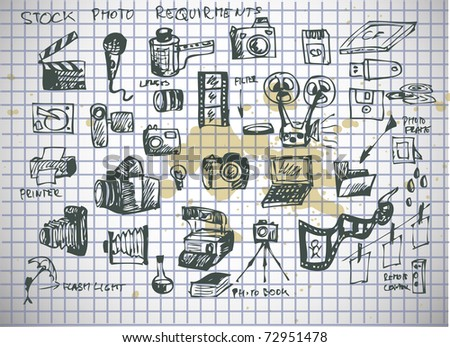 stock photographer icon on old paper - stock vector