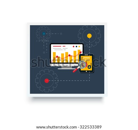 Stock trading poster flat style. Employment and achievement business, diagram and wealth, finance and dollar, trader and report marketing analyzing. Trade, stock market, stock exchange, stock broker - stock vector