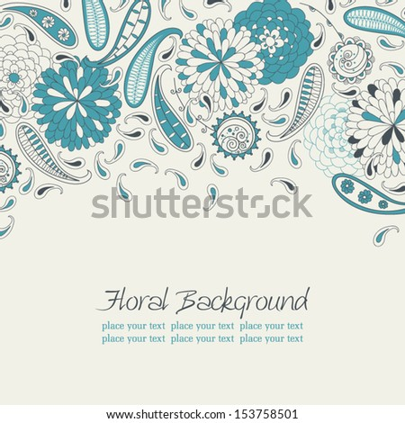 Stock vector card with abstract flowers and paisley in retro style. - stock vector