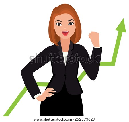 Stock Vector cartoon Illustration business woman in a suit isolated on a white background is happy success/Business woman in a suit isolated on a white background/Stock Vector cartoon Illustration - stock vector