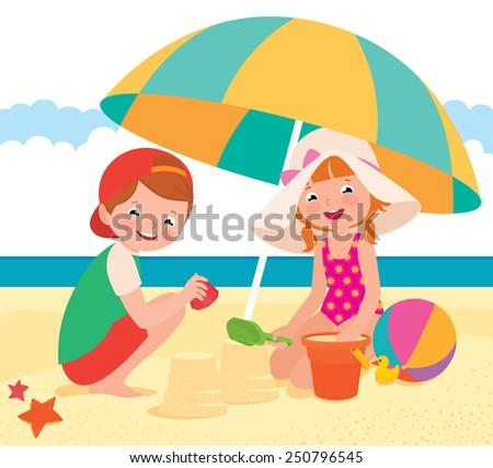 Stock vector cartoon illustration Children playing on the beach/Children playing on the beach/Stock Vector cartoon illustration - stock vector
