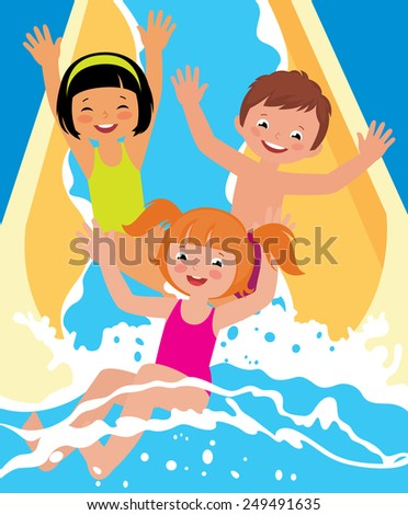 Stock vector cartoon illustration ?hild boys and girl playing in water park in summer/Child boys and girl playing in water park/Stock vector cartoon illustration - stock vector