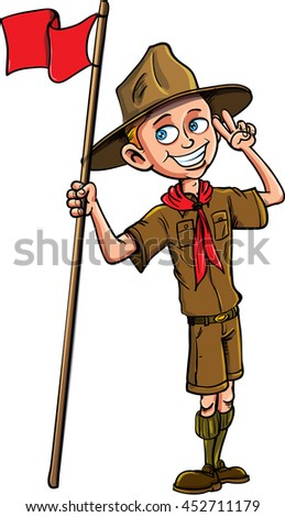 Stock Vector cartoon illustration of a boy scout.Isolated