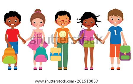 Stock Vector cartoon illustration of a group of children of school students are holding school bags/Group of children students with school bags/Stock Vector cartoon illustration - stock vector