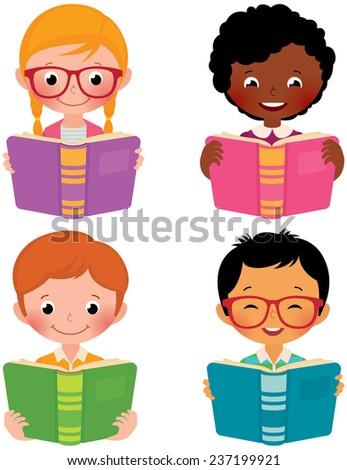 Stock Vector cartoon illustration of kids of different nationalities read books/Kids read books/Stock Vector cartoon illustration in EPS 8 - stock vector