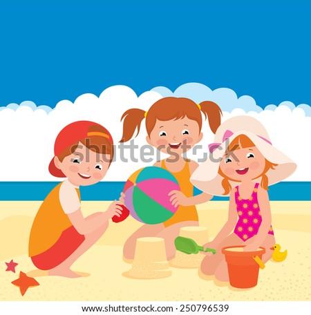 Stock vector cartoon illustration Three friends playing on the beach/Three friends playing on the beach/Stock Vector cartoon illustration - stock vector