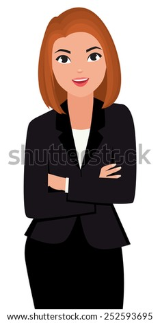 Stock vector cartoon illustration young business woman with arms folded isolated on background/Young business woman with arms folded isolated on white background/Stock vector cartoon illustration - stock vector