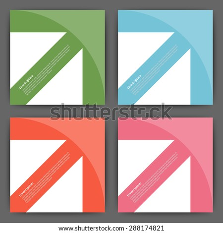 Stock Vector Design template square cards with arrows. - stock vector
