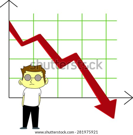 Stock vector downtrend on the stock market, red arrow - stock vector