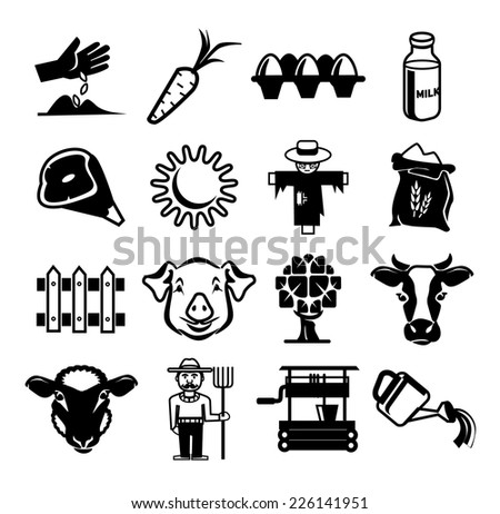 Stock vector farm pictogram icon set - stock vector