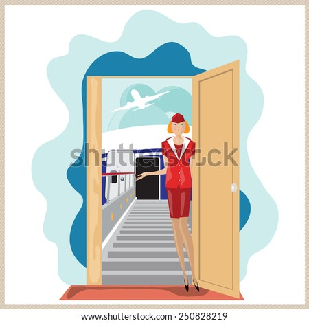 Stock vector. Funny airplane stewardess invites to travel. - stock vector