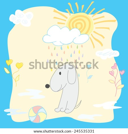 stock vector funny puppy under colorful rain