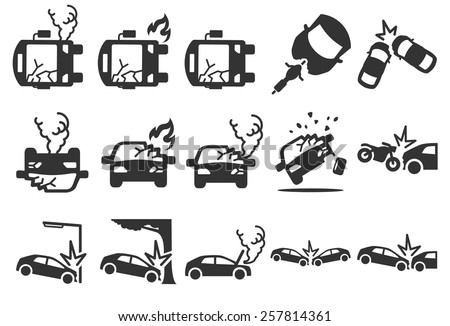 Stock Vector Illustration: Car crash icons - stock vector