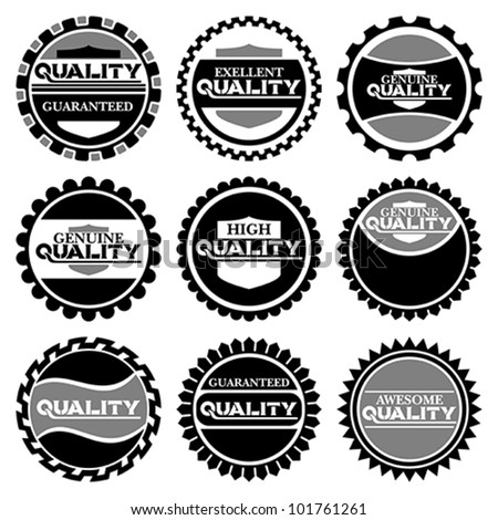 Stock Vector Illustration: Collection of Premium Quality and Guarantee Labels with retro vintage styled design