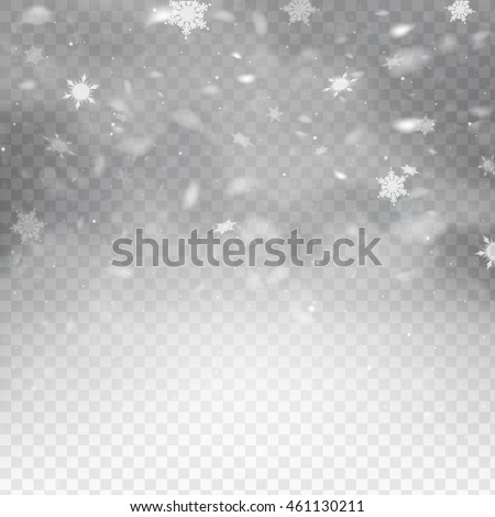 Stock vector illustration falling snow. Snowflakes, snowfall. Transparent background. EPS 10 - stock vector