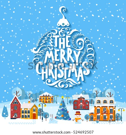 Stock vector illustration greeting card inscription stock vector stock vector illustration greeting card inscription merry christmas lettering on winter day town suburb m4hsunfo