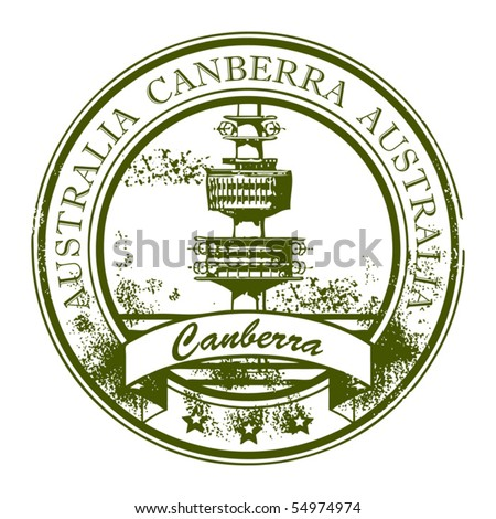 Stock Vector Illustration: Grunge rubber stamp with TV Tower and the word Canberra, Australia inside, vector illustration - stock vector