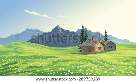 Stock vector illustration. Mountain alpine landscape with houses. - stock vector
