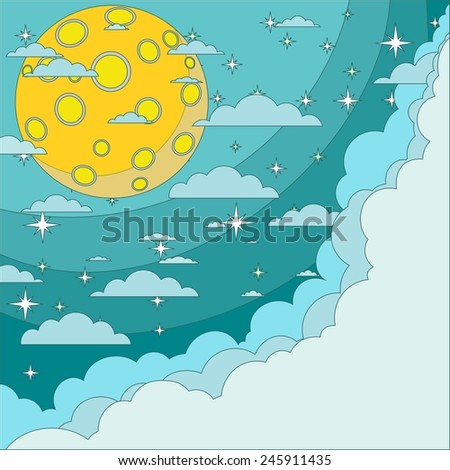 Stock Vector Illustration of a Cartoon moon with space for text in the clouds - stock vector