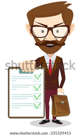 Stock Vector Illustration of a Cartoon Young Man Holding a Paper With Green Flags - stock vector