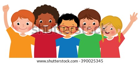 Stock vector illustration of a international group of children friends hugging each other on a white background - stock vector