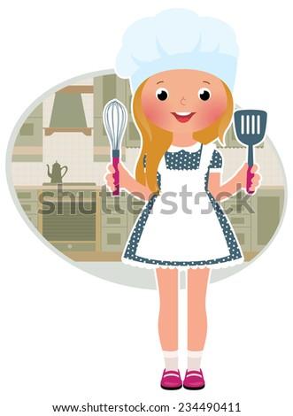 Stock Vector illustration of cute little girl cook in the kitchen/Girl cook in the kitchen/Stock Vector illustration - stock vector
