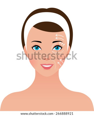 Stock vector illustration portrait of beautiful girl with perforations on the face for plastic surgery/Portrait of beautiful girl with perforations on the face for plastic surgery/Stock  illustration - stock vector