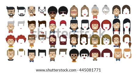 Stock vector illustration set avatars female faces, male faces, design elements, African Americans, Caucasians, red hair, freckles, Women's hairstyles, Men's hairstyles, beard, hipsters flat style - stock vector