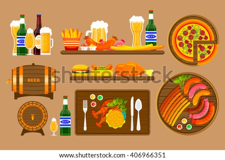 Stock vector illustration set beers, beer mugs, bottles and food with beer, appetizer, fast food in flat style element for info graphic, website, icon, games, motion design, video - stock vector