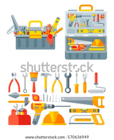 open tool box clip art. stock vector illustration set isolated icons open and closed tool box building tools repair construction clip art