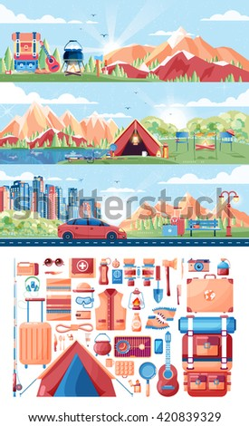 Stock vector illustration set of day landscape, mountains, sunrise, travel, hiking, nature, tent, campfire, pot, big tourist backpack, camping, car, city daylife, bench, luggage, tour in flat style