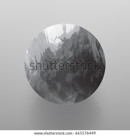Stock vector illustration shiny, sparkly silver leaf circle. Metal foil texture Isolated on gray background.