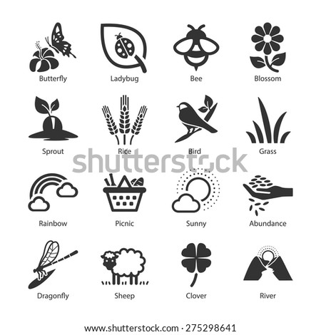 Stock Vector Illustration: Spring icons - stock vector