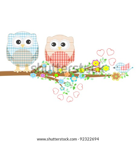 Stock Vector Illustration: Vector Owl set with Seasonal Branches - stock vector