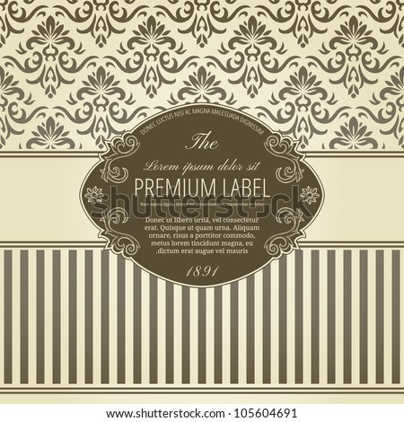 Stock Vector Illustration: Vintage background with damask pattern in retro style - stock vector