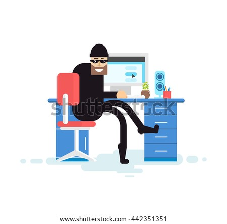 Stock Vector isolated illustration hacker, hacker sits near computer, hacker steals data base, thief in black, thief stole, robber on white background, in black mask, criminal - stock vector