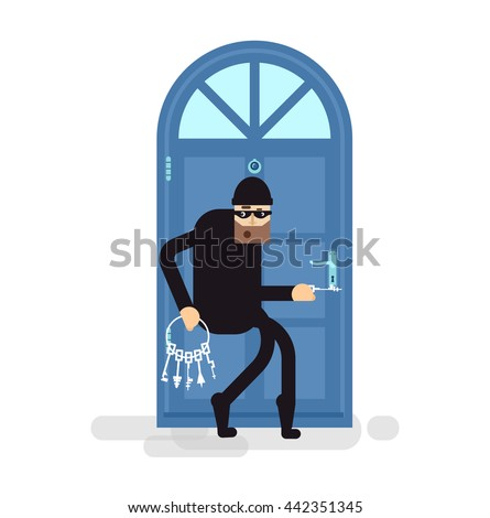 Stock Vector isolated illustration thief, burglar sneaks to door, attacker holding bunch of skeleton keys, robber breaks door, thief in black suit, on white background,  in black mask, criminal - stock vector