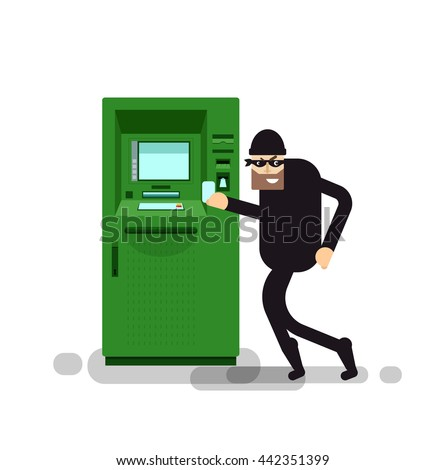 Stock Vector isolated illustration thief steals money from ATM, green cash machines, thief in black suit, robber on white background, black in mask, criminal - stock vector