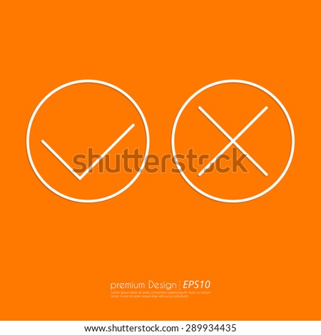 Stock Vector Linear icon yes and no. Flat design. - stock vector