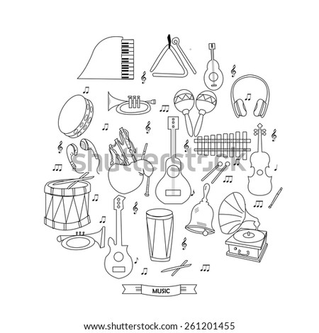 Stock vector musical instruments outline icon set - stock vector