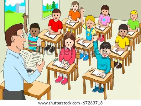 Stock vector of a classroom - stock vector